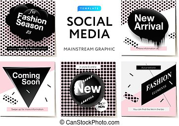 Modern promotion square web banner for social media mobile apps. Elegant Fashion promo banners for online shopping with abstract pattern, vector illustration.