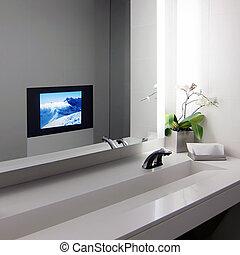 Modern public bathroom interior
