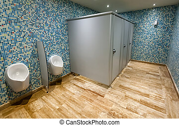 Modern public wc, blue colors.