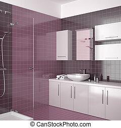modern purple bathroom