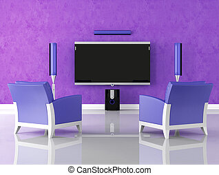 purple home theater - modern purple home theater with...