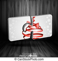 Modern Puzzle Template With Christmas Ribbon Bow