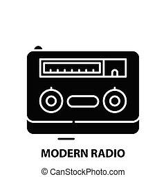 modern radio icon, black vector sign with editable strokes, concept illustration