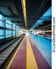 Modern railway platform