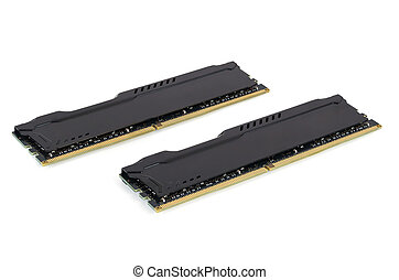 Modern RAM memory modules with black radiator