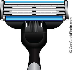 Modern razor with three blades. Vector illustration.