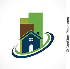 Modern real estate buildings logo