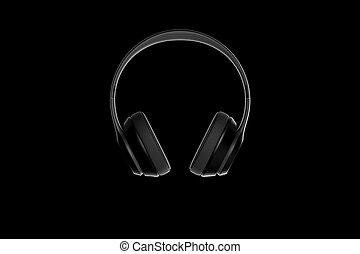 Headphones isolated on dark background. 3d rendering.
