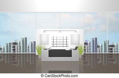 Modern reception - 3d illustration of the modern office room...