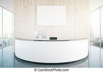 Modern reception desk in interior
