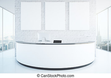 Modern reception desk in room - Modern white reception desk...