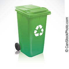 Realistic modern recycle bin isolated on white