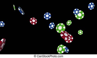 Modern Red And Blue Flying Casino Chips 4K 3D Alpha Green Screen loop Animation.