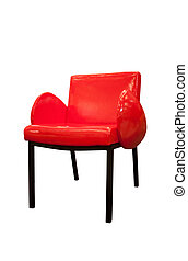 Modern red armchair isolated on white background