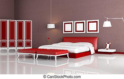 elegant bedroom with modern bedroom ottoman and screen - rendering