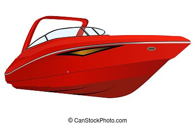 Vector illustration of red modern boat.