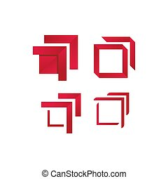 modern red border square logo frame on a white background