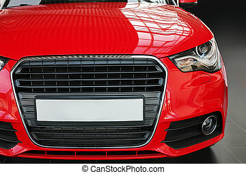 red car front view  - modern red car front view close up