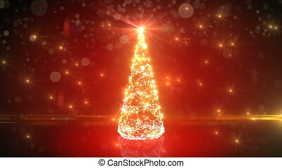 Modern Red Digital Christmas Tree Growing Like Grid Mesh in Abstract Cyberspace. Flickering Lights. Merry Christmas and Happy New Year Concept. 4k Ultra HD 3840x2160