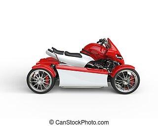 Modern red electric quad bike