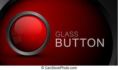 Modern red glass button.