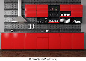Modern red kitchen - Front view of modern red kitchen...