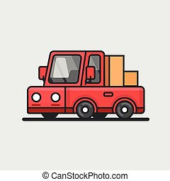 Modern red pickup car icon. Delivery concept. Flat design.