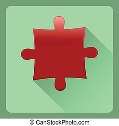 Modern red puzzel flat icon with shadow effect, vector ...