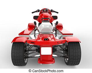 Modern red quad bike - back view closeup shot