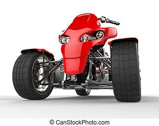 Modern red quad bike - front view extreme closeup shot