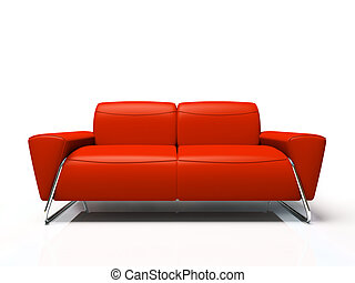 Modern red sofa isolated on white background