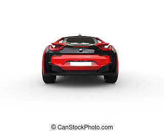 Modern red sports car - back view