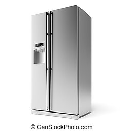Modern Refrigerator isolated on a white background