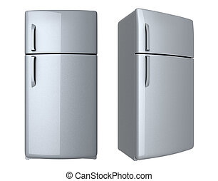 Modern refrigerator - isolated on white background