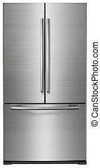 Modern refrigerator isolated on white