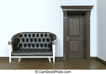 modern, render, klassisch, ledern sofa, door., hölzern, inneneinrichtung, 3d