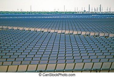 Huge Solar Power Plant - Modern Renewable Energy Plant. Huge...