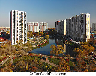Modern residential houses near pond Levoberezhny in Khimki, ...