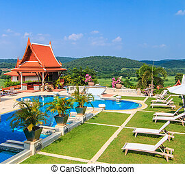 Modern resort with swimming pool