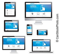 Modern responsive web design computer, laptop, tablet and smartphone vectors isolated on white