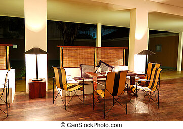 Modern restaurant interior at night illumination, Bentota,...