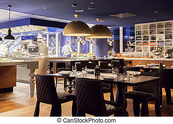 modern Amsterdam's restaurant with open kitchen
