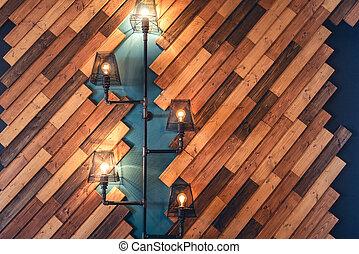 Modern restaurant with rustic decorative elements. Interior...