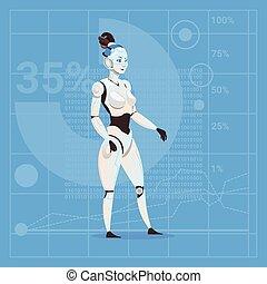 Modern Robot Female Futuristic Artificial Intelligence Technology Concept