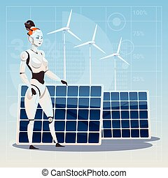 Modern Robot Female Over Wind Turbine And Solar Panels Renewable Energy Artificial Intelligence Technology Concept