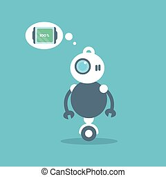 Modern Robot Full Battery Charge Message Artificial Intelligence Technology Concept