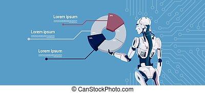 Modern Robot Hold Graphic Diagram, Futuristic Artificial Intelligence Mechanism Technology