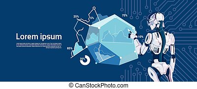 Modern Robot Hold Loading Graphic Diagram, Futuristic Artificial Intelligence Mechanism Technology