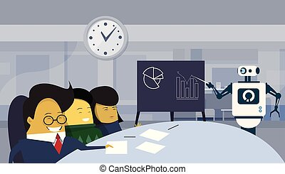 Modern Robot Presentation Or Finance Report In Office During Brainstorming Meeting With Group Of Asian Businesspeople Sitting At Desk