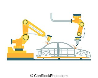 Modern robotic car manufacturing process. Modern engineering...